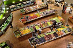 Aerial view of a large fruit and veg section of the supermarket