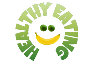 Healthy eating sign in the shape of a face with a banana smile with limes for eyes