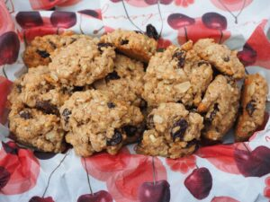 Healthy homemade cookies in a lined container