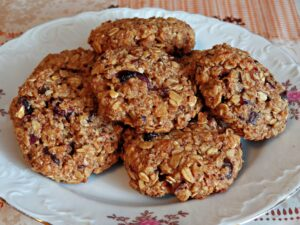 Plate full of oatmeal cookies