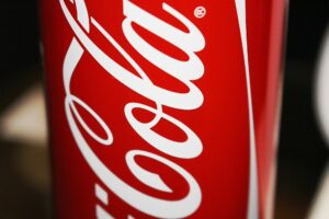 close up on a coca cola can