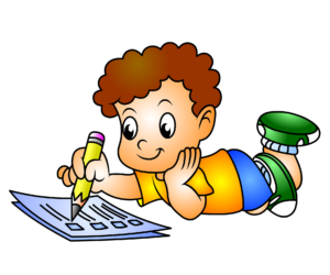 Animated toddler writing in notepad