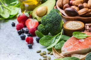 Balanced diet of fruits and vegatables, seeds and nuts and fish