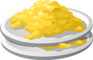 Big pile of macaroni cheese on a white plate