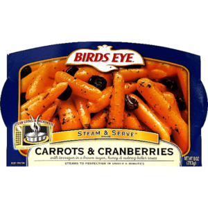 Birds eye carrots and cranberries package