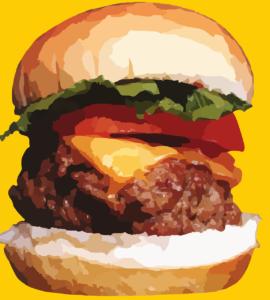 Cartoon of enormous beef burger in a bun