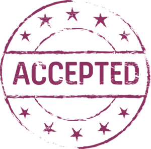 Circular stamp with stars and the word 'accepted' through the middle
