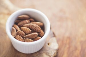 Small pot of almonds for snacking