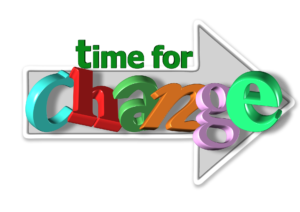 Words it's time for change within an arrow pointing forwards