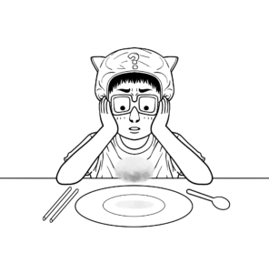 caricature of a young child with head in hands and question mark over their head looking at an empty plate