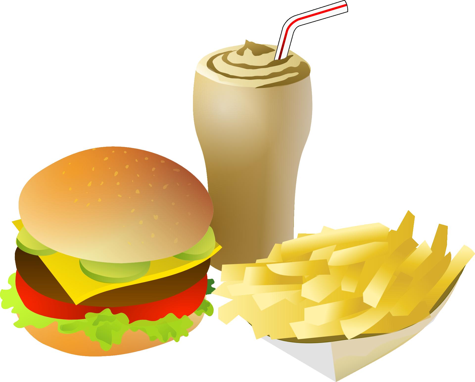 cheeseburger milkshake and fries