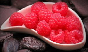 curved bowl of raspberries and dates for snacking