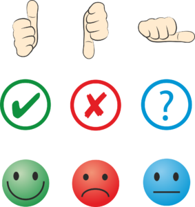 feedback chart of thumbs up, neutral and down, smiley face, neutral and frowny